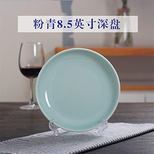 Celadon Deep Plate Dinner Plate Ceramic Household Hotel Plate Soup Plate Dishes Western Microwave Tableware Powder Green 8.5 Inch Deep Dish