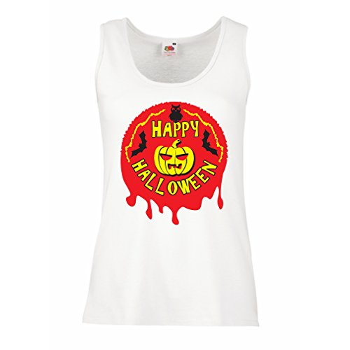 Sleeveless t Shirts for Women Happy Halloween! - Party Clothes - Pumpkins, Owls, Bats (Small White Multi Color) -