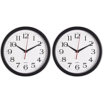 Awesome Bernhard Products   Black Wall Clocks, 2 Pack Silent Non Ticking Quality  Quartz Battery Operated