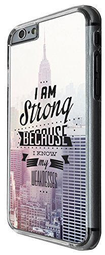 1335 - Cool Fun Trendy cute kwaii I am strong because i know my weaknesses NYC city inspirational quote Design iphone 6 Plus / iphone 6 Plus S 5.5'' Coque Fashion Trend Case Coque Protection Cover pla