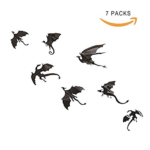 Halloween Fantasy Decor 3D Dragon Wall Sticker,Halloween 3D Flying Dragon Wall Sticker 1Set(7 pieces) Wall Decal DIY Scary Black Dragon Removable Window Stickers Halloween Party Supply Home Decoration