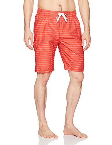 Kanu Surf Men's Echelon Swim Trunks (Regular & Extended Sizes), Line Up Red, X-Large
