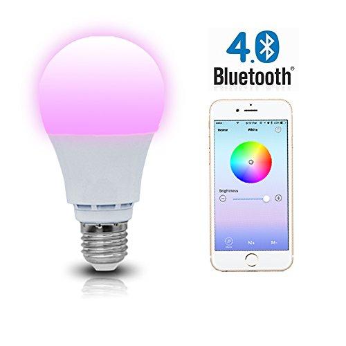 Shyu bluetooth smart led light bulb e26 base 6000k for Bluetooth controlled light bulb
