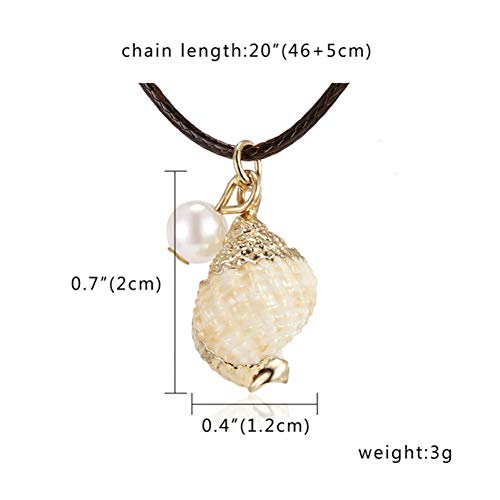 (GAJSDJHN Necklace Summer Style Netural Conch Seashell Pendant Necklace Black Rope Chain Shell Necklaces Starfish Necklaces Beach Jewelry for Women)