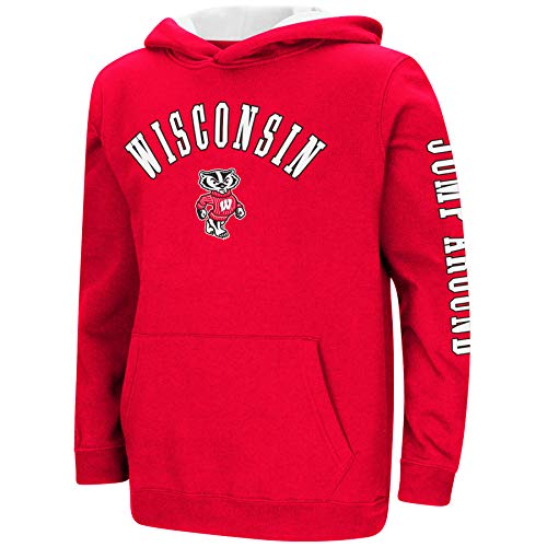 (Colosseum NCAA Youth Boys-Crunch Time-Hoody Pullover-Wisconsin Badgers-Cardinal-Youth XL)