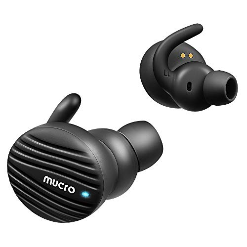 True Wireless Bluetooth Earbuds, MUCRO Extra Comfortable Noise Cancelling Sports Headphones with Ear Hooks, Touch Control Bluetooth 5.0 TWS Earphones Black Built-in Mic, Stereo Calls