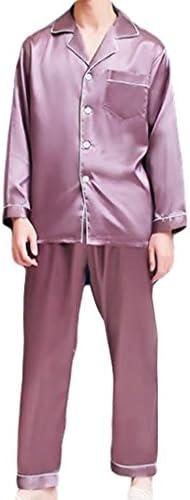 メンズ ルームウェア 長袖 上下セット 部屋着 シルク風 パジャマ セットアップ 秋ルームウェア トップス&ロングパンツ
