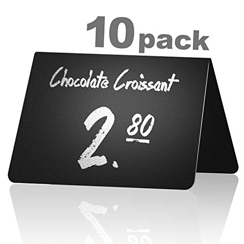10 Pack Rustic Tent Style Mini Chalkboard Signs - Chalk Sign - Easy To Write and Wipe Out - For Liquid Chalk Markers And Chalk - Food Labels For Party - Small Chalk Boards Signs For Food