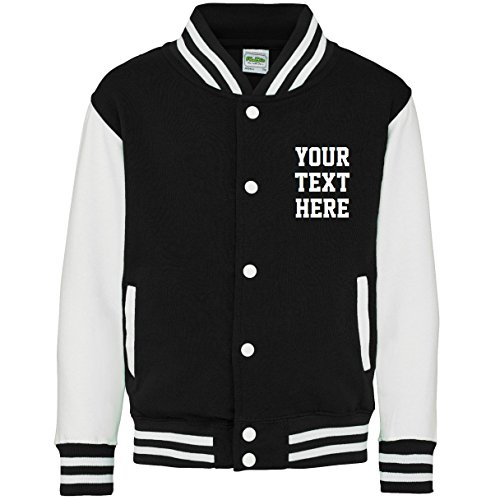 Direct 23 Ltd Personalized Kids Varsity Jacket (9-11 Years, Jet -