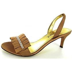 J. Renee Womens Zara Kitten Heel Sandal Pump Shoe, Old Gold, US 7.5