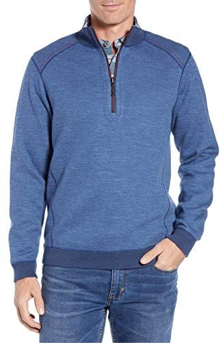 (Tommy Bahama Men's Flipsider Reversible Half-Zip Sweatshirt - Midnight Blue Heather)