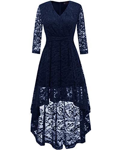 DRESSTELLS Women's Vintage Floral Lace 3/4 Sleeves Dress Hi-Lo Cocktail Party Swing Dress Navy L