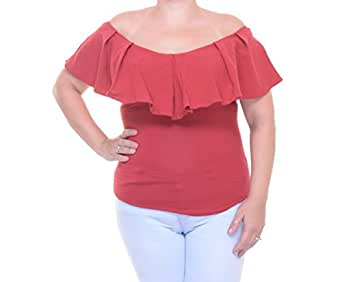 Free People Women's Off The Shoulder Ruffled Tula Top Tulip Red Size S