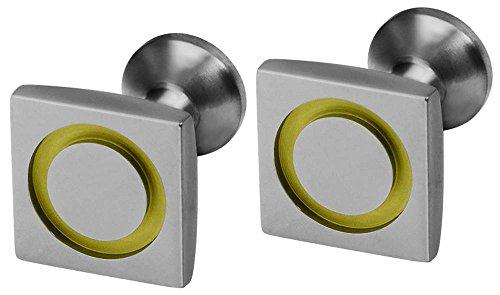 Ti2 Titanium Mens Square Circle Inlay Cufflinks - Lemon ()