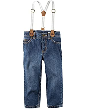 Carter's Boys' 5-Pocket Straight Jeans With Suspenders