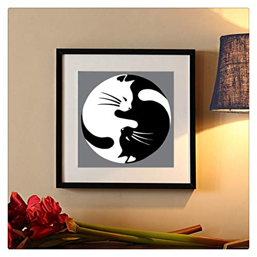 5D Black and White Cat Embroidery Paintings, Rhinestone Pasted DIY Diamond Painting Cross Stitch (Multicolor) (Black Cross Stitch Cat)