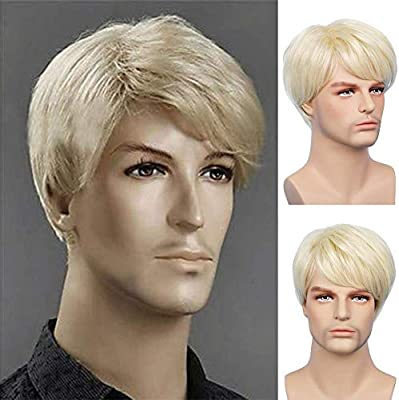 Kaneles Mens Blonde Wig Short Straight Golden Color Halloween Party Natural Hair Full Wig Buy Online At Best Price In Uae Amazon Ae