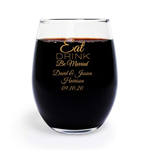 72 Pack Eat Drink Be Married 9 oz Wine Glass, Personalized Stemless Wine Glass, Gold, Wedding Favors, Bridal Shower Favors ()