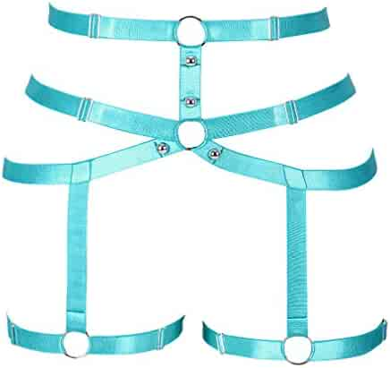 2cbb14c64 CAGBRRO Women s Harness Gothic Leg Strappy Lingerie Body Harness Garter Belt  Plus Size Elastic Adjustable Black