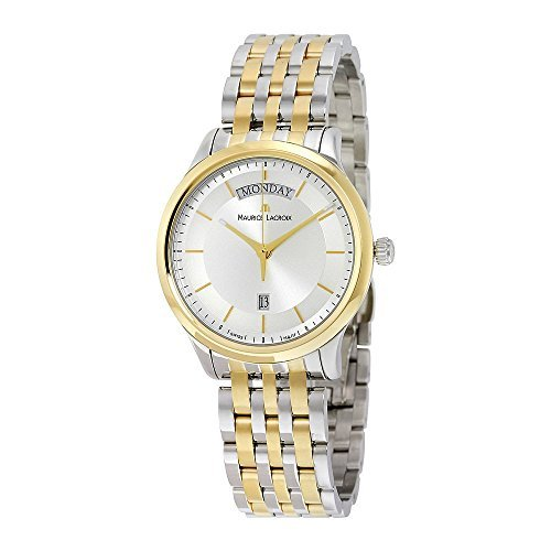 Maurice Lacroix Les Classiques Day- Date Silver Dial Silver- Gold Plated Stainless Steel Mens Quartz Watch LC1227-PVY13-130 130 Maurice Lacroix Watches