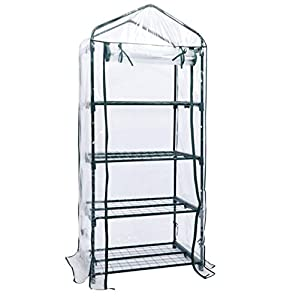 """Greenhouse Light Kit Indoor Outdoor 4 Tier Mini 63"""""""" Portable With Shelves Mini Green Plants House"""