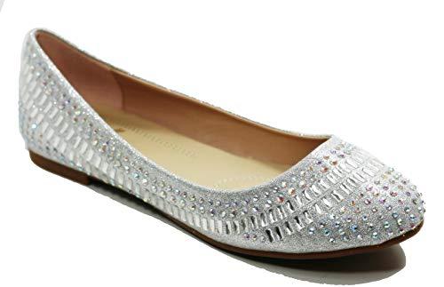 Walstar Women Basic Glitter Mesh Flat Slip on Shoes (Basic Glitter)