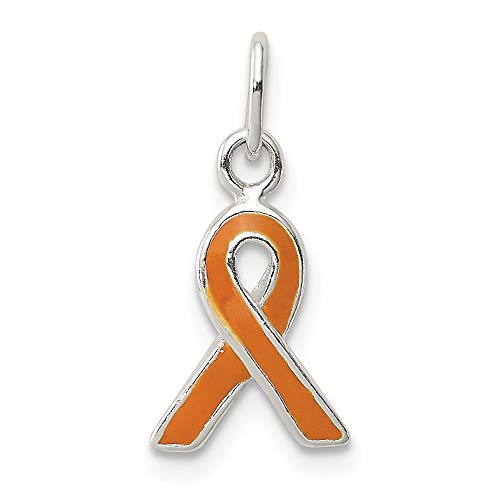 (925 Sterling Silver Orange Enameled Awareness Pendant Charm Necklace Awarenes Fine Jewelry Gifts For Women For Her)
