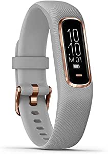Garmin vivosmart 4, Activity and Fitness Tracker with Pulse Ox, Advanced Sleep Monitoring and Vibration Alerts, Rose Gold w/Gray Band (Renewed)