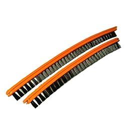 EUREKA Sanitaire Upright Vacuum Cleaner Vibra Groomer II Wide Track Brushroll Inserts, 1 Pair, 1 Long, 1 Short, Orange Inserts, Black Nylon bristles
