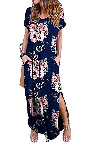 Women's V Neck Floral Printed Maxi Dress Summer Short Sleeve Split Casual Loose Long Beach Dresses with Pockets - Womens Dress Lounge