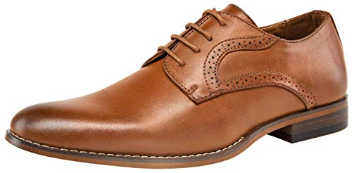 Brown Cap Toe - VOSTEY Men's Oxfords Cap Toe Brogue Formal Dress Shoes (11,Brown)