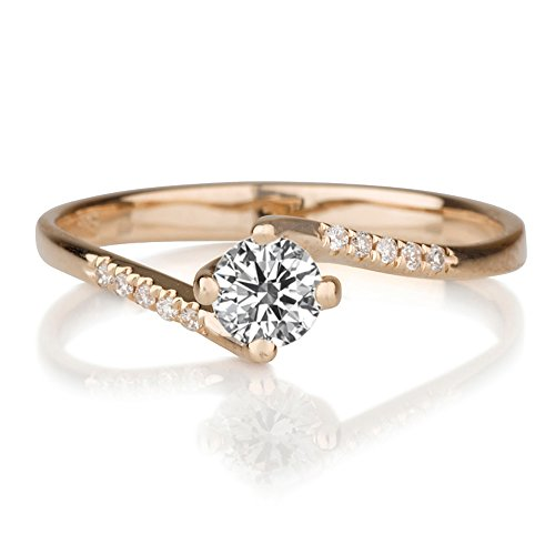 Beautiful 0.55ct Lab Created White Sapphire and Diamonds Ring Rose Gold 14K