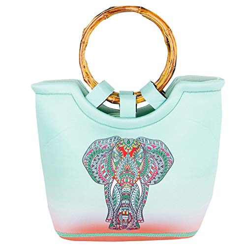 Female Elephant - Neoprene Lunch Bag Reusable Tote Bag Insulated Lunch Box Adult Large Lunch Tote Handbag Fordable for Men & Women, Blue Elephant