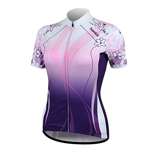 Santic Women's Full-Zip Short Sleeve Cycling Jersey Medium Purple