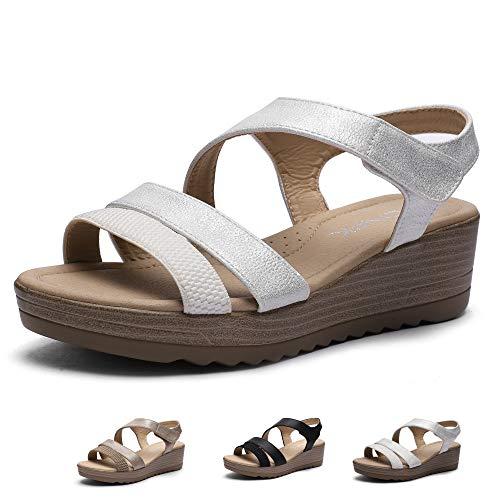 CINAK Women Wedge Sandals Comfort-Casual Open Toe Adjustable Velcro Comfort Summer Shoes White ()