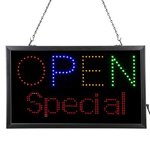 Artística 3408859.7x 30.5cm LED'Open' cartel con programable LED mensaje, color negro