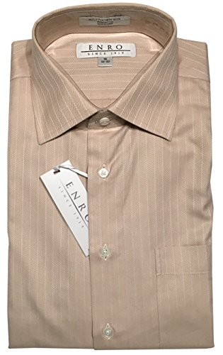 Herringbone Stripe Dress Shirt (Enro Non-Iron Spread Collar Tonal Herringbone Stripe Dress Shirt (16 32/33, Tan))