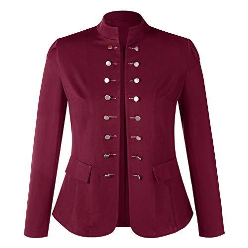 Kacowpper Christmas Punk Women Winter Warm Vintage Tailcoat Jacket Overcoat Outwear Uniform Buttons Coat -