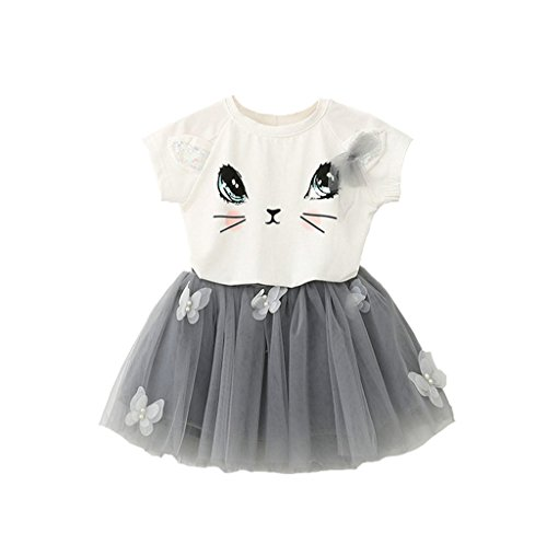 Baby Grils Outfit Clothes Cute kitty girls T-shirt + Tutu skirt skirt 2 Pcs Set 120 (Grils Clothes)