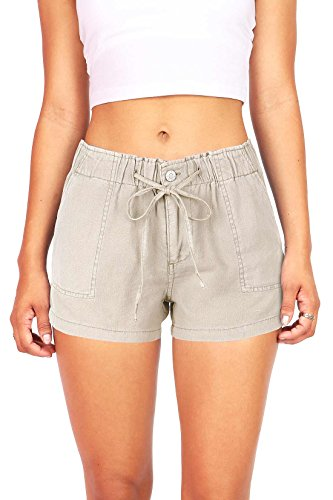 celebrity-pink-womens-super-comfy-mid-rise-linen-shorts-m-stone