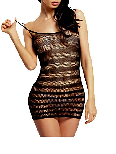 Amoretu Womens Fishnet Lingerie Striped Mini Dress Strap Chemise Black