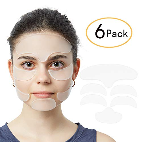 - 6 Pack Anti Wrinkle Eye Patches with Silicone Face Pad for Women Wrinkles Prevention - 1x Forehead Wrinkle Patches, 1x Chin Wrinkle Patches, 2 x Eye Silicone Pad, 2 x Silicone Anti Wrinkle Facial Pad