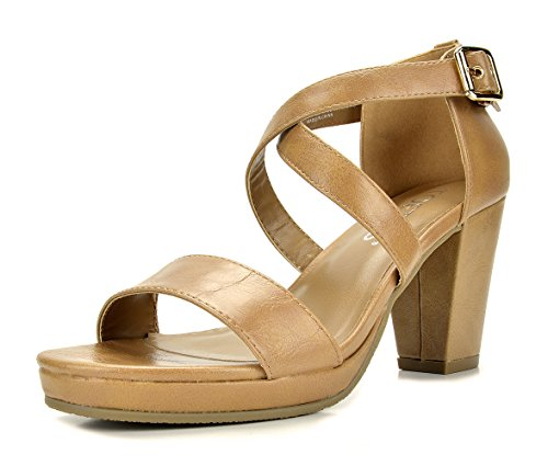 TOETOS DIANE-03 New Women's Cross Strap Open Toes Mid Chunky Heels Platform Dress Sandals Nude Size 8.5 (Heel Leather Sandal)