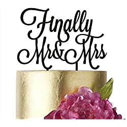"Wedding Cake toppers Finally Mr and Mrs, Cake Topper Wedding, Mr&Mrs, Finally Cake topper, Anniversary, Cake Decorating Supplies, Gold Silver Black White Mirror (width 5"", silver)"