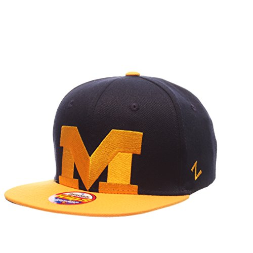(Zephyr NCAA Michigan Wolverines Youth Boys Peek Snapback Hat, Navy/Gold, Adjustable)