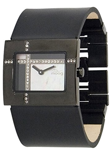 Moog Paris Mondrian Women's Watch with Black & White Mother of Pearl Dial, Black Genuine Leather Strap & Swarovski Elements - M44372F-010