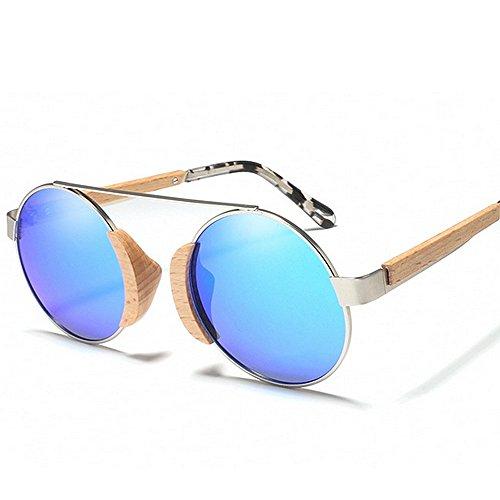 de sol de sol para polarizadas Classic la Retro de Hombres sol UV metálico sol unisex Gafas mujeres vendimia redondo de de de Gafas Gafas conduc protección Azul madera de de de sol las marco Gafas gafas de wZpanqIp