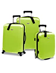 Travelers Choice Freedom Lightweight Hard-Shell Spinning Rolling Luggage Set, Large, 3-Piece (Apple Green)