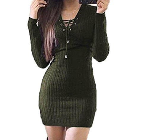 Merino Turtleneck Sweater Dress (JUNKE Women Winter Long Sleeve Knitted BodyCon Sweater Dress (M, Army)