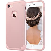 iPhone 7 Case for Girls, ULAK Dual Layer Slim Hybrid Protection Anti-Scratch Shock Absorbing PC TPU Skin Hard Cover for Apple iPhone 7 4.7 inch- Rose Gold